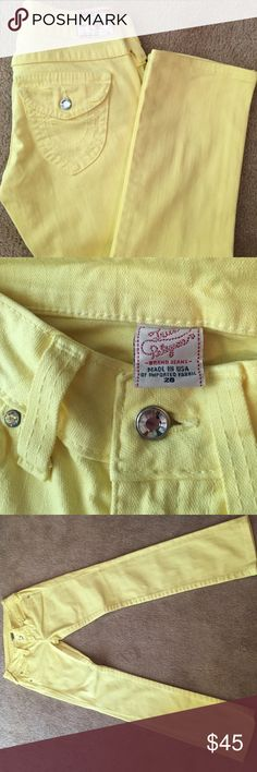 True Religion yellow jeans Absolutely gorgeous pair of True Religion yellow jeans. Barely worn and in great condition! Size 26. Smoke free home. True Religion Jeans Straight Leg