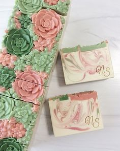 We sell handcrafted soap products made by the cold process method. Homemade Soap Bars, Handmade Soap Recipes, Soap Maker, Soap Packaging, Cold Process Soap, Soap Molds, Home Made Soap, Cactus Flower, Decoupage