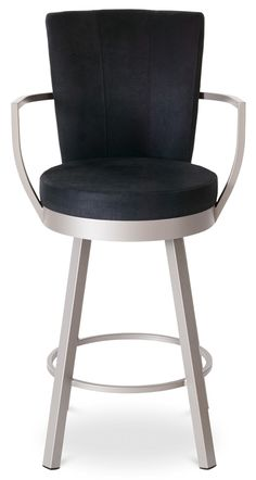 Cardin Swivel Stool w Wrap Arms and High Upholstered Back