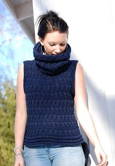 Ravelry: Tweed Vest pattern by Linda Marveng This Tweed Vest with cowl, knitted in Thomas Kvist Yarns soft Delicious Tweed, has a long flattering and warm back with a short front. The pattern is folded triangles, knitted as an expanding rib before folding, designed by Lynne Barr and well suited to this beautiful yarn with cashmere and angora.
