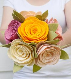 Cottage Roses Felt Bouquet