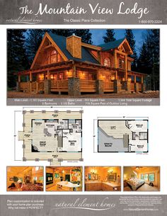 Plan Details – Natural Element Homes Loft Floor Plans, Log Cabin Floor Plans, Floor Plan 4 Bedroom, Log Home Plans, House Floor Plans, Mountain Home Plans, Country House Plans, New House Plans, Dream House Plans