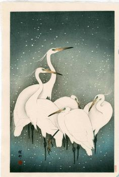 Ohara Koson: Five Herons in Snow : Lot 58Ohara Koson - Five Herons in Snow. 1927, Published by Watanabe, Heisei edition from the original blocks. 10.25 x 15.5 inches. Medium: Japanese Woodblock Print
