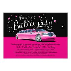 Limousine limo birthday party invitations girl bachelorette bridal birthday party invitation pink limousine stopboris Image collections