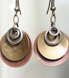 Hoop Mixed Metal - Hammered Copper Earrings - Antiqued Brass Earrings - Antiqued Silver Earrings - Rustic Earrings - Dangle earrings. $17.00, via Etsy.