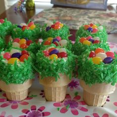 Ice Cream Cone Cupcakes... With dyed coconut and jellybeans for decoration.