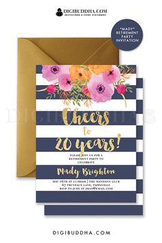 Navy and gold stripe retirement party invitations with bright watercolor flowers and gold glitter brush script letting. Choose from ready made printed invitations with envelopes or printable Bon Voyage invitations. Gold envelopes also available. digibuddha.com                                                                                                                                                     More