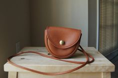Authentic Vintage Coach Mini Belt Bag - Made in USA - British Tan Brown Leather Small Crossbody Bag