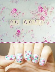 floral nails again. adorable.