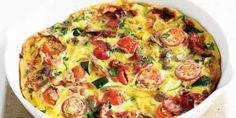This frittata makes a quick and easy Monday night dinner. Zucchini Tomato, Tomato Basil, Zucchini Frittata, Savoury Slice, Basil Recipes, Herb Recipes, Savoury Recipes, Vegetarian Recipes, Snack Recipes
