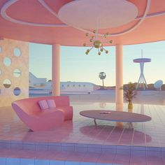 Grace Casas - Airport on Mars, 2067 Futuristic Interior, Retro Futuristic, Futuristic Architecture, Interior Architecture, Interior And Exterior, Retro Interior Design, All The Bright Places, Das Hotel, Aesthetic Rooms