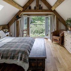 Traditional bedroom pictures and photos for your next decorating project. Find inspiration from of beautiful living room images Attic Bedroom Designs, Attic Rooms, Bedroom Ideas, A Frame Cabin, A Frame House, Loft Room, Bedroom Loft, A Frame Bedroom, Barn Bedrooms