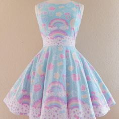 Pastel party mint skater dress made to order - Thumbnail 5
