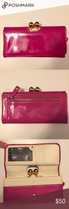 Ted Baker Patent Wallet Good condition classic Ted Baker wallet. Coveted Fenchie print interior. Hot pink Ted Baker Bags Wallets