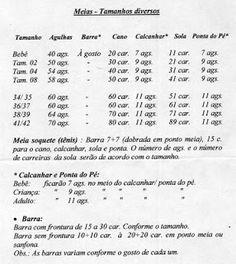 ENTREFIO: Tabela e Receitas para meias - Tricô à Máquina