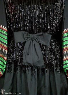 Yves Saint Laurent vintage beaded fringe evening gown French