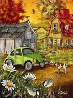 YOGOTOP Diamond Embroidery Villa car DIY Diamond Painting Cross Stitch Needlework Full Rhinestones Home Decorations Tole Painting, Painting & Drawing, Pictures To Paint, Art Pictures, Art Mignon, Art Populaire, Cross Paintings, Naive Art, Cute Art