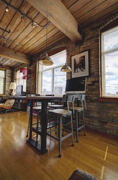 Noble Court Lofts - Unit #413   Toronto LOFTS Toronto Lofts, Industrial Office Space, Hardwood Floors, Flooring, Exposed Brick Walls, Open Concept Kitchen, Wood Ceilings, The Unit, Room