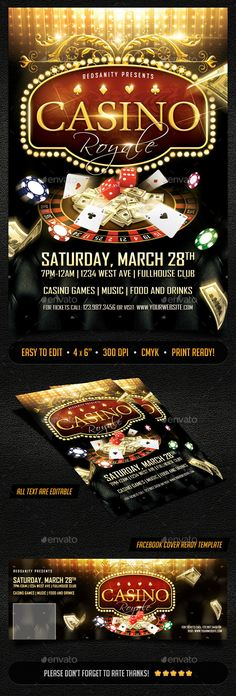 Casino Royale Flyer Plus FB Cover | Casino Infographics