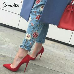 Brand Name: SIMPLEE Material: Cotton, Polyester, Spandex Length: Ankle-Length Pants Wash: Light Closure Type: Zipper Fly Waist Type: Mid Decoration: Embroidery, Pattern,Button, Pockets, Zippers Fabric