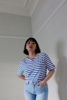 Levant Moderne Breton Stripe Cotton Jersey T-Shirt Androgynous Look, Different Seasons, Saint James, Parisian Chic, Classic Looks, Size Model, Blue Denim, Nautical, Label