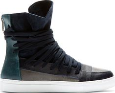 Krisvanassche - Navy Overlaced High-Top Sneakers