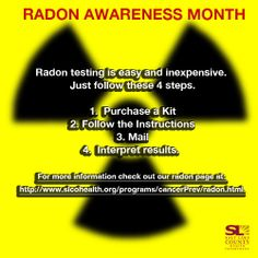 January is Radon Awareness Month. Environmental Health, Public Health, Cancer Awareness, January, Social Media, Content, House, Ideas, Home