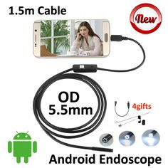 Mini USB Android Endoscope 1.5M 5.5mm Snake Tube IP67 Waterproof Inspection Pipe Borescope Android OTG USB Camera Side Mirror