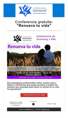 "Conferencia gratuita: ""Renueva tu vida"" Academia, September 16, Live, Wellness"