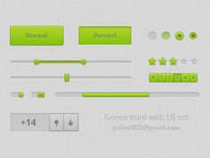Green web ui set  http://www.techirsh.com psd download