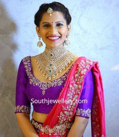 Heavy bridal diamond choker set by Amukta - Indian Jewellery Designs Half Saree Designs, Silk Saree Blouse Designs, Silk Sarees, Indian Bridal Fashion, Indian Wedding Jewelry, Bridal Jewellery, Diamond Choker, Diamond Necklaces, Diamond Jewellery