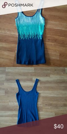 Express sequined tank Express sequined tank. Worn once. 100% cotton. Express Tops Tank Tops