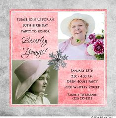 Snowflake 80th Birthday Card - Pink & Silver Two Photos Invitation