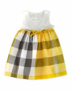 Ribbed Tank Combo Dress, White, 3-18 Months by Burberry at Neiman Marcus.