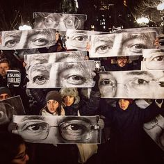 French artist JR (jr) posted this photo taken by his studio manager Marc Azoulay (marc) of demonstrators in Union Square, accompanied by the #jesuischarlie tag.