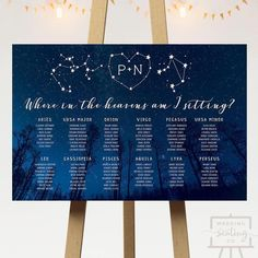 debut ideas Starry Night Wedding Seating Chart for a star or galaxy themed reception Galaxy Wedding, Starry Night Wedding, Moon Wedding, Celestial Wedding, Free Wedding, Wedding Tips, Trendy Wedding, Space Wedding, Wedding Reception