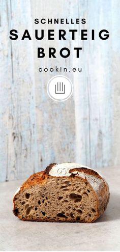 Schnelles Sauerteigbrot - einfach, gelingsicher und köstlich - cookin' Home Bakery, Bread Bun, Happy Foods, Pampered Chef, Banana Bread, Cravings, Vegan Recipes, Cooking, Desserts