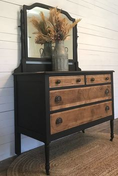 DIY Dresser Makeover Upcycled Furniture Tip - DIY Dresser Makeover Upcycled Furniture Tip Antique Dresser Makeover and How to Remove Veneer DIY Refurbished Furniture, Repurposed Furniture, Vintage Furniture, Cool Furniture, Furniture Design, Rustic Furniture, Modern Furniture, Furniture Stores, Dresser Furniture