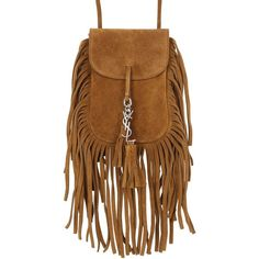 Saint Laurent Women Anita Fringed Suede Shoulder Bag ($550) ❤ liked on Polyvore featuring bags, handbags, shoulder bags, tan, suede fringe purse, brown purse, brown shoulder bag, shoulder strap handbags and tan purse