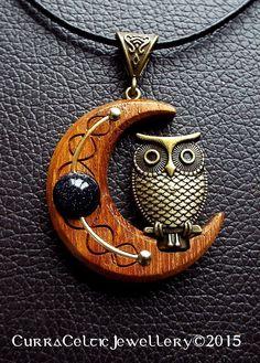 """007 Bronze Owl on Iroko with blue goldstone bead (1-5/8"""")"""