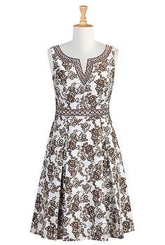 I <3 this Graphic embroidery split neck plus size dress from eShakti