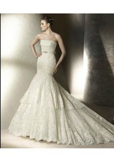 Wedding dress online shop - Lace Straight Strapless Neckline Elegant Beaded Sash with Bow back Mermaid Gown with Tiered Skirt 2012 New Arrival Wedding Dress WD-1670