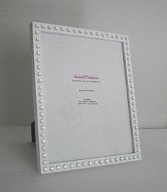 WHITE & BLING Picture Frame White w/ Clear Rhinestones by LaurieBCreations $17.50
