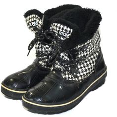 Vintage Black Cougar Rain Boots Insulated Rain Boots Duck Boots... ($70) ❤ liked on Polyvore featuring winter boots