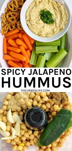 This simple and spicy dip is perfect for snack time, game day, parties, and more. Vegan, dairy free, gluten free, easy, quick Jalapeno Hummus, Spicy Hummus, Roasted Jalapeno, Hummus Recipe, Dairy Free Recipes, Vegetarian Recipes, Healthy Recipes, Healthy Drinks, Delicious Recipes