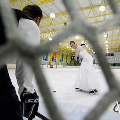 Before walking down the aisle, this couple decided to hit the ice