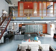 industrial loft with exposed duct work open concept. idea for building out...