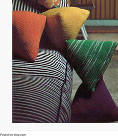 PDF Immediate Digital Delivery Vintage Crochet Pattern to make Easy Retro Humbug Sweet Shaped Scatter Sofa Bed Cushions or Pillows, or adapt to