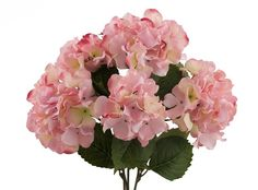 Pink Hydrangea Bush with 5 Flower Heads for diy centerpieces and flower bouquets.