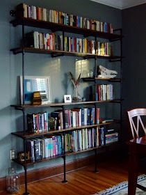 Plumbing Pipe & Reclaimed Lumber Bookshelf, DIY, Love industrial look